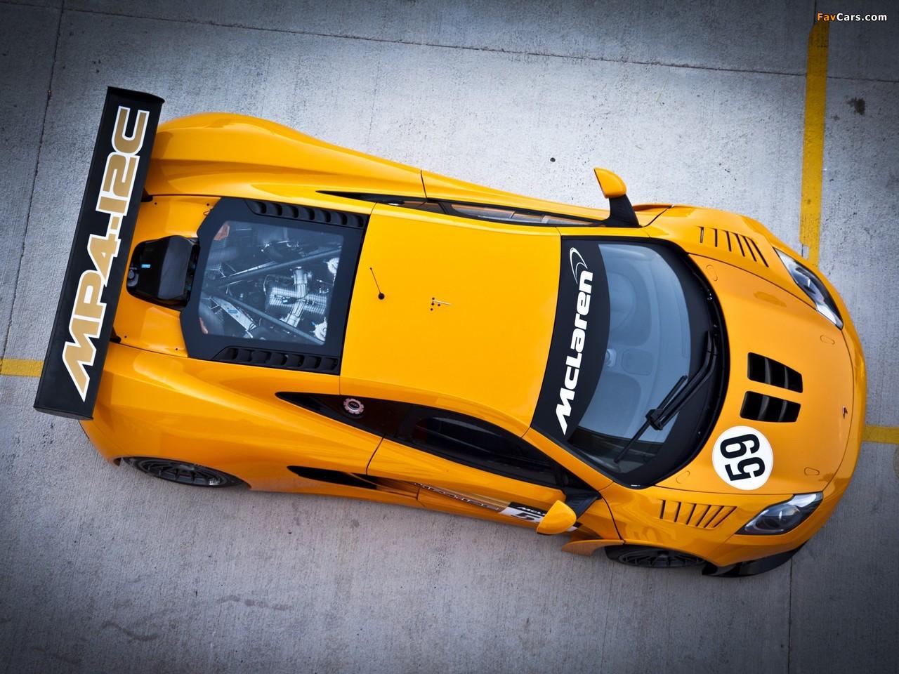 желтый спортивный автомобиль McLaren MP4 12C GT3  № 667665 без смс