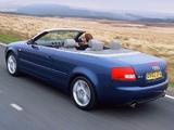 Photos of Audi A4 2.4 Cabrio UK-spec B6,8H (2001–2005)
