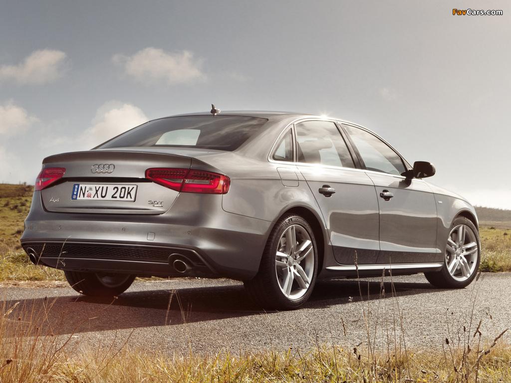 Pictures of Audi A4 3.0T quattro S-Line Sedan AU-spec (B8,8K) 2012 (1024 x 768)