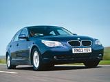 BMW 520i Sedan UK-spec (E60) 2003–05 images