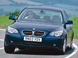 Photos of BMW 520i Sedan UK-spec (E60) 2003–05