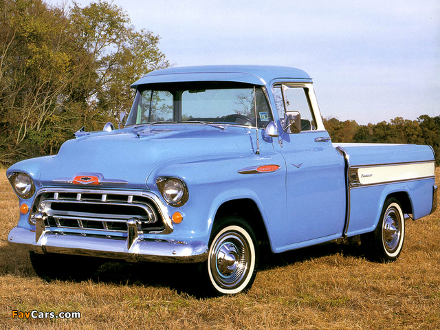Chevrolet 3100 Cameo Fleetside Pickup (3A-3124) 1957 pictures (640 x 480)