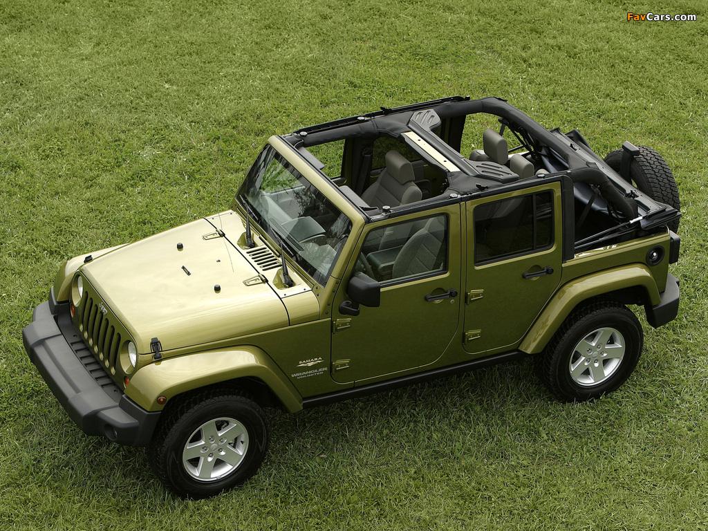 Jeep Wrangler Unlimited Sahara EU-spec (JK) 2007 wallpapers (1024 x 768)