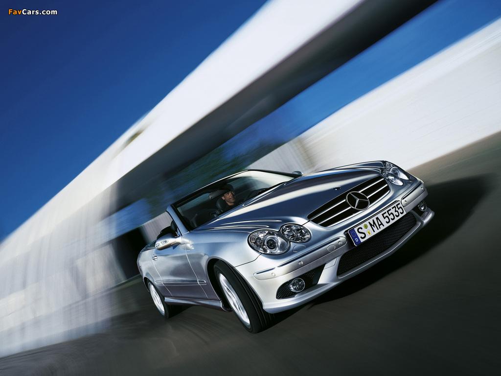 Images of Mercedes-Benz CLK 55 AMG Cabrio (A209) 2005–06 (1024 x 768)