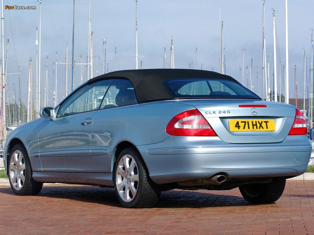Mercedes-Benz CLK 240 Cabrio UK-spec (A209) 2003–05 pictures (1024 x 768)