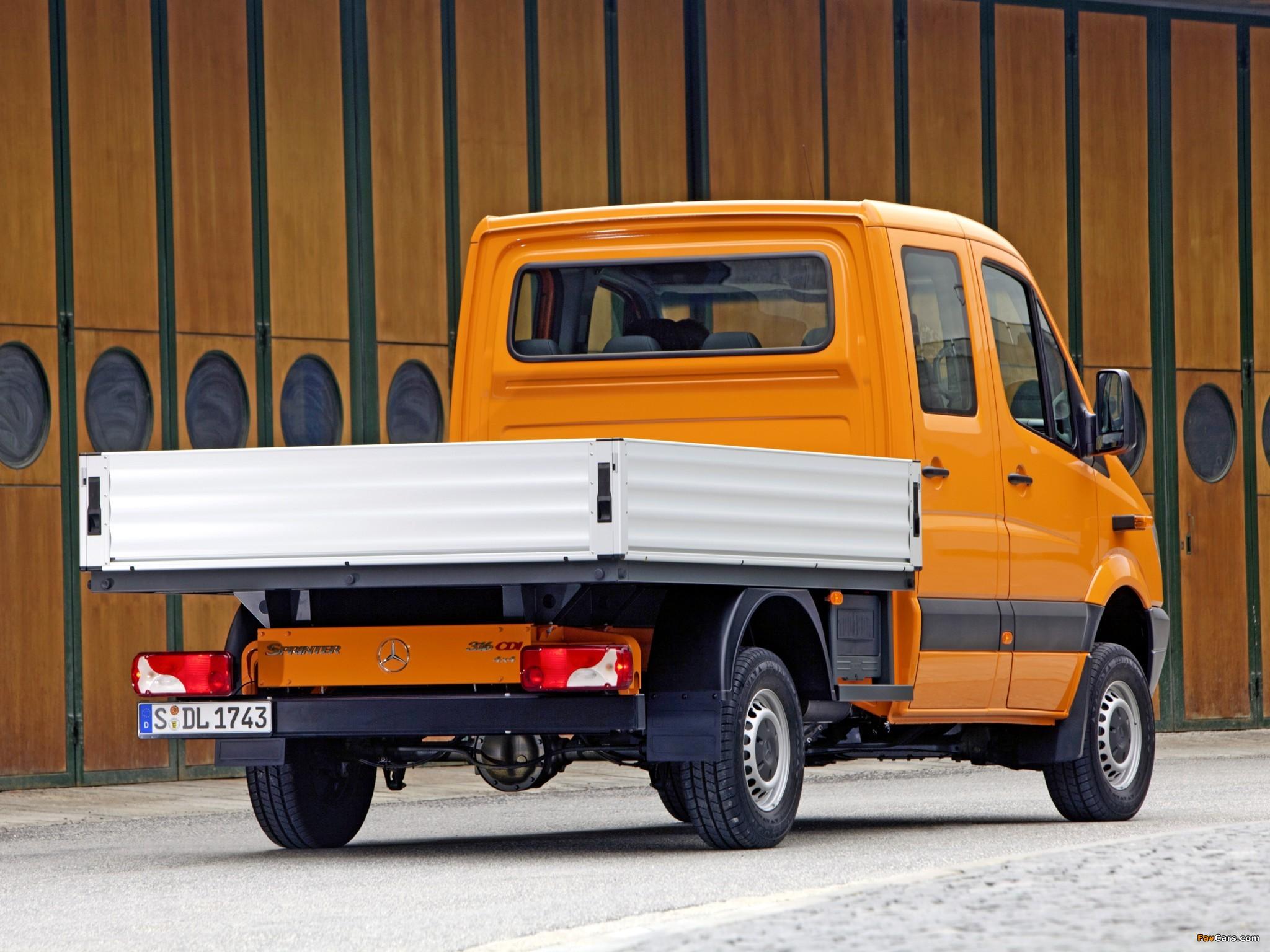 Mercedes-Benz Sprinter Double Cab Dropside 4x4 (W906) 2009–13 images (2048 x 1536)