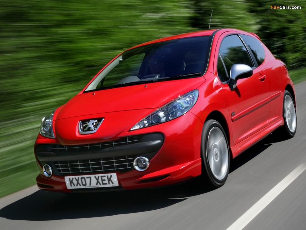 Peugeot 207 GTi UK-spec 2007–09 wallpapers (1024 x 768)