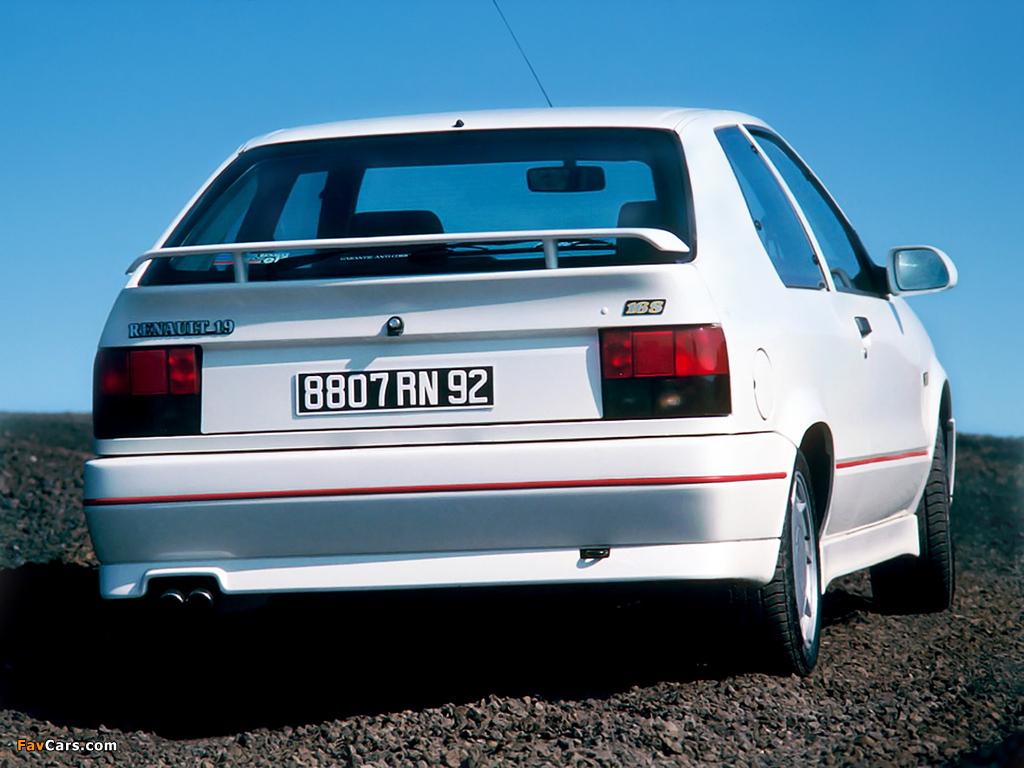 Renault 19 16V 3-door 1988–92 pictures (1024 x 768)