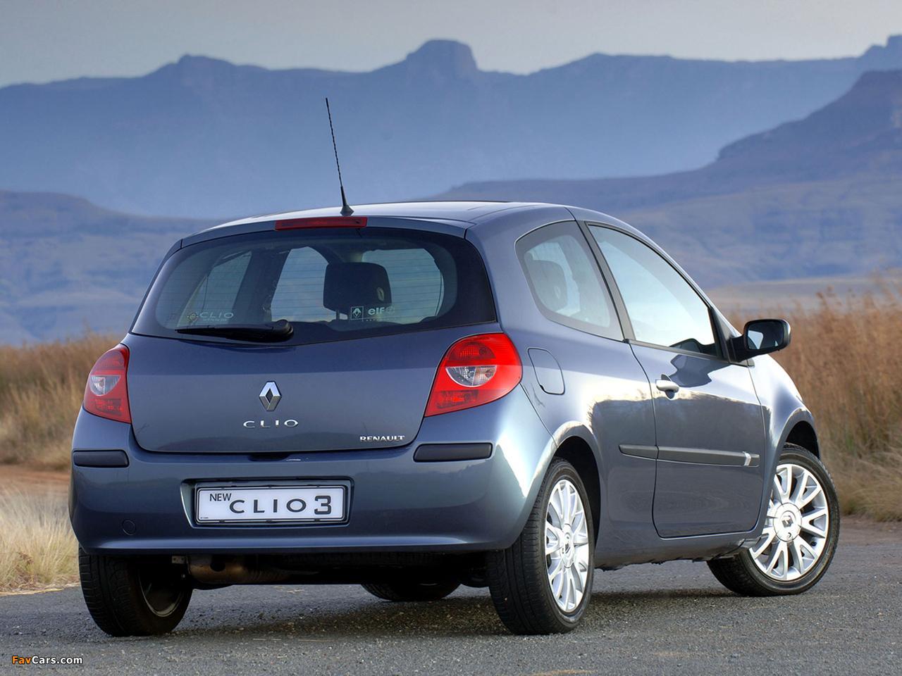 Renault Clio 3-door ZA-spec 2006–09 wallpapers (1280 x 960)