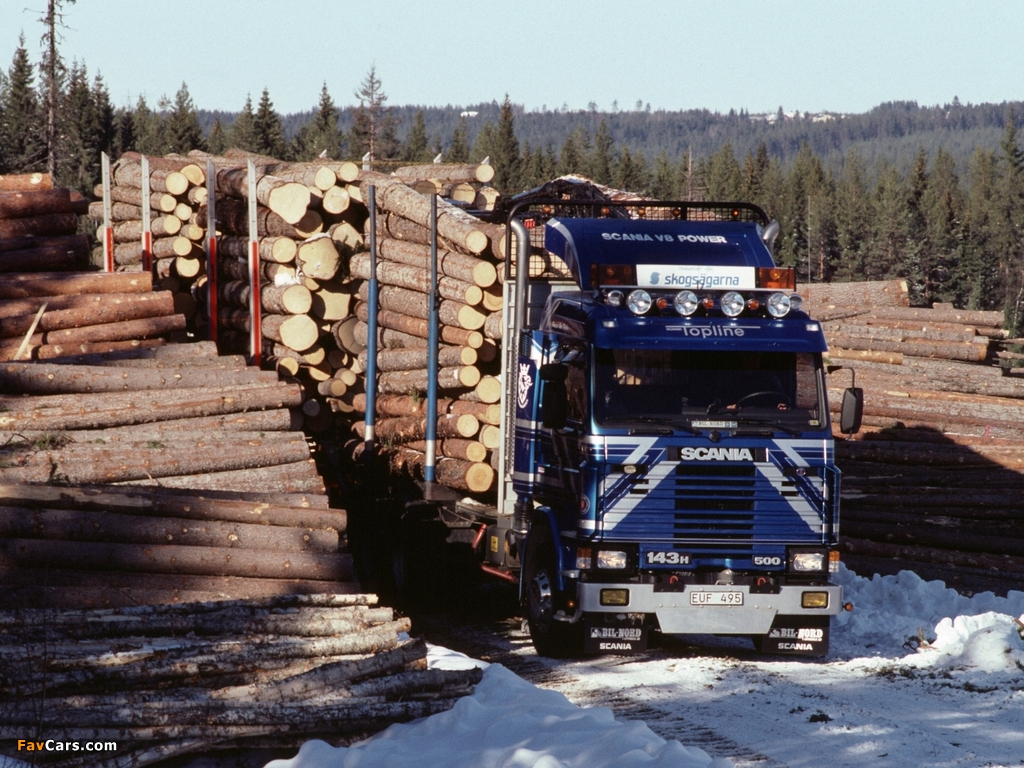 Scania 143H 500 6x2 Timber Truck 1988–95 wallpapers (1024 x 768)