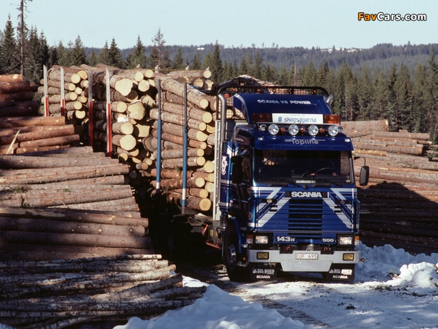 Scania 143H 500 6x2 Timber Truck 1988–95 wallpapers (640 x 480)