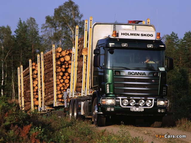 Scania R164GB 580 6x4 Timber Truck 1995–2004 images (640 x 480)