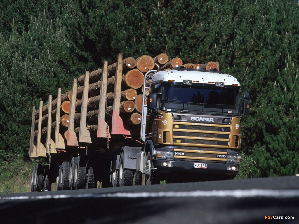 Scania R144G 530 6x4 Timber Truck NZ-spec 1995–2004 wallpapers (1024 x 768)
