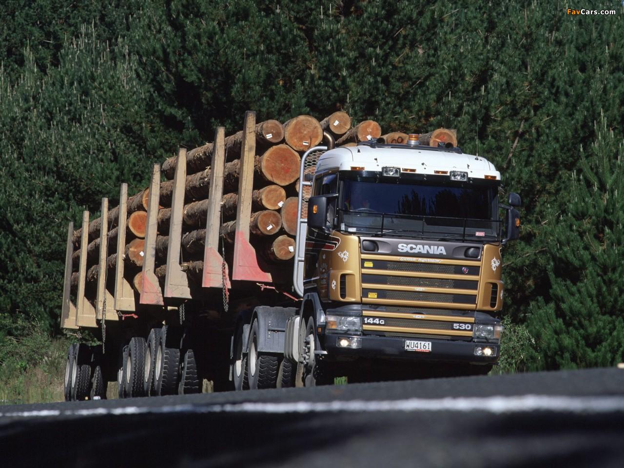 Scania R144G 530 6x4 Timber Truck NZ-spec 1995–2004 wallpapers (1280 x 960)