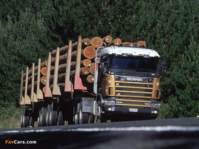 Scania R144G 530 6x4 Timber Truck NZ-spec 1995–2004 wallpapers (640 x 480)
