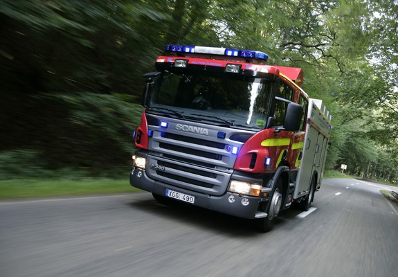 Scania P340 4x2 Crew Cab Fire Engine 2005–10 wallpapers