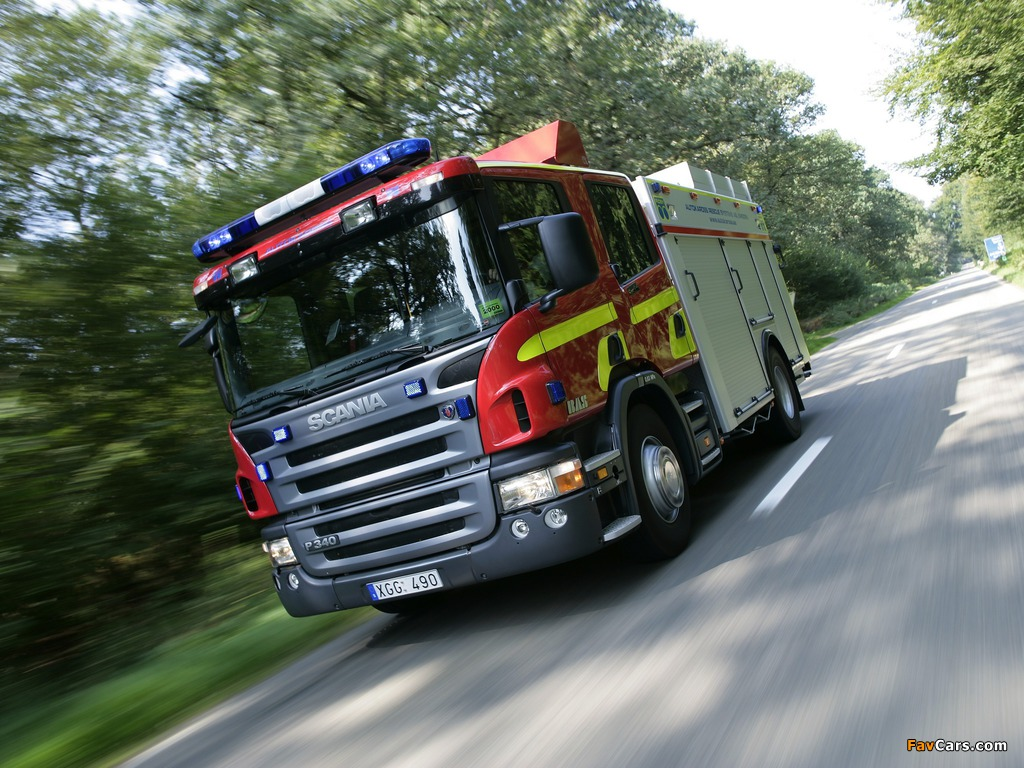 Scania P340 4x2 Crew Cab Fire Engine 2005–10 wallpapers (1024 x 768)