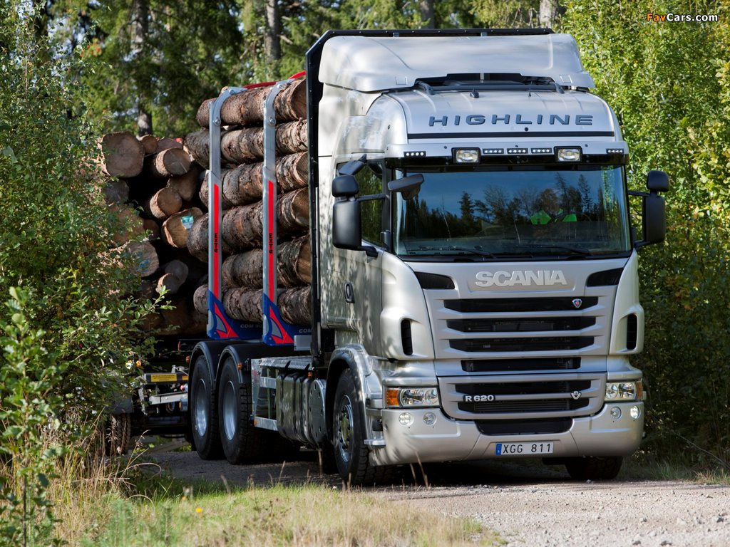 Photos of Scania R620 6x4 Highline Timber Truck 2009–13 (1024 x 768)