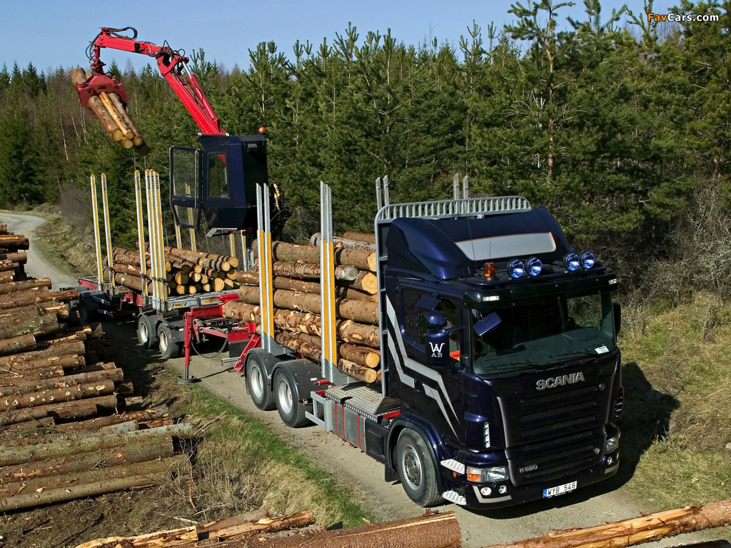 Scania R580 6x4 Timber Truck 2004–09 wallpapers (1024 x 768)